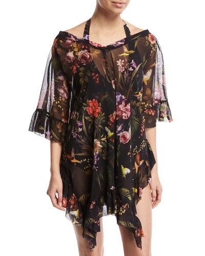 Floral Print Short-Sleeve Swim Coverup, Black and Matching Items