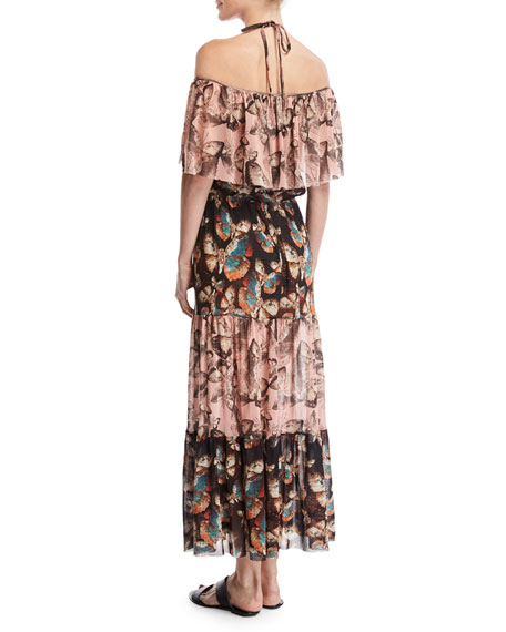 Butterfly-Print Off-the-Shoulder Maxi Dress, Pink