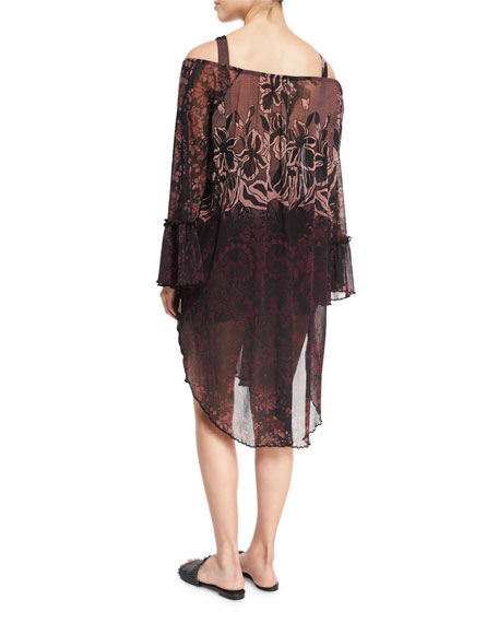 Floral Print Off-the-Shoulder Coverup Dress, Black