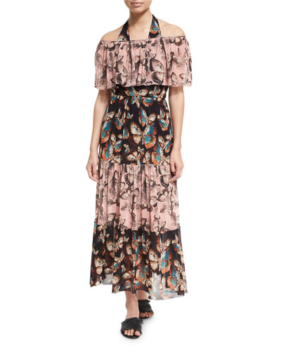 Butterfly-Print Off-the-Shoulder Maxi Dress, Pink and Matching Items