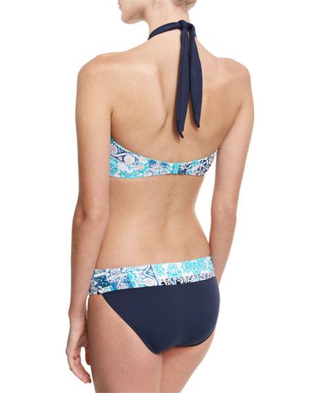 Silk Market Bandeau Swim Top, Bahama Blue