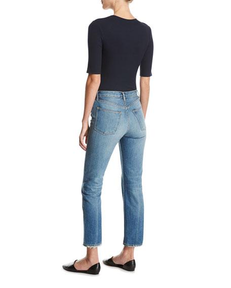 High-Rise Vintage Straight-Leg Jeans, Med Wash