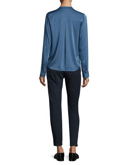 Long-Sleeve Stretch Silk Blouse