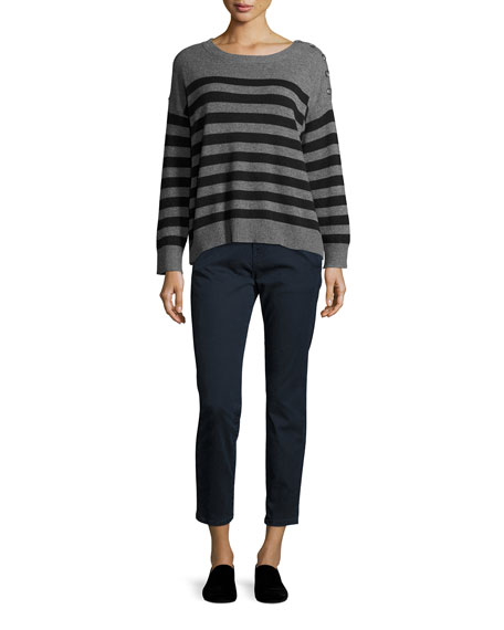 Cashmere Striped Shoulder-Button Pullover Sweater