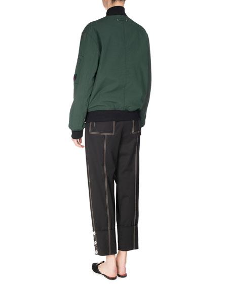 Topstitched Pleat-Front Pants, Black