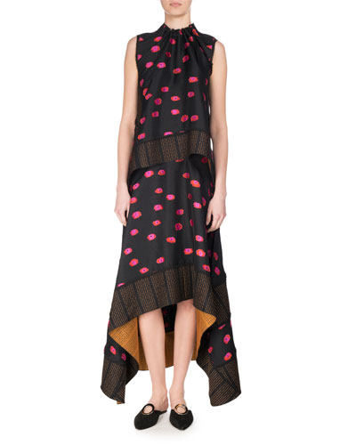 Fil Coupé Ikat Dot Handkerchief Maxi Skirt, Multicolor and Matching Items