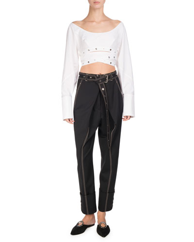 Topstitched Pleat-Front Pants, Black and Matching Items