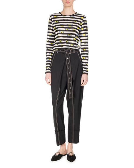 Striped Ikat Pansy Long-Sleeve T-Shirt, Black/White/Multi