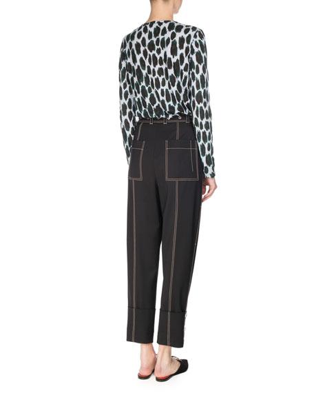 Ikat Leopard Long-Sleeve T-Shirt, Blue/Deep Pine/Black