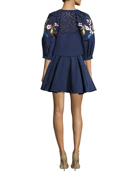 Floral-Embroidered Cropped 3/4-Sleeve Jacket, Navy