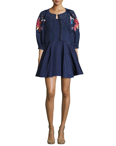 Floral-Embroidered Cropped 3/4-Sleeve Jacket, Navy and Matching Items