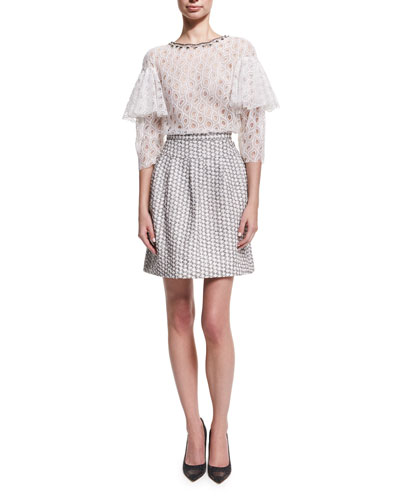 Pleated Jacquard Miniskirt, White/Black and Matching Items