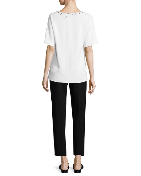 Short-Sleeve Cady Top W/ Grommets