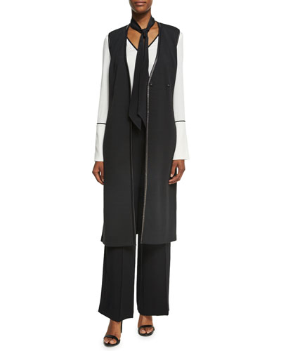 Milano Knit A-Line Long-Line Vest W/ Nappa Leather and Matching Items