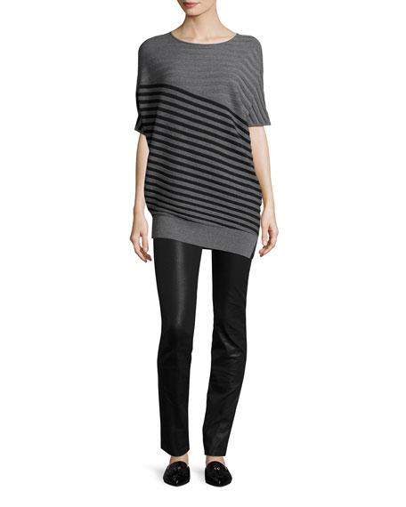 Wool Jersey Striped Asymmetric Sweater, Gray/Black
