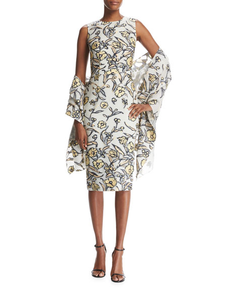 Painted Floral Organza Wrap