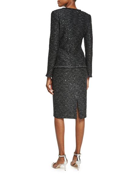 Sparkle Wave Tweed Knit Jacket