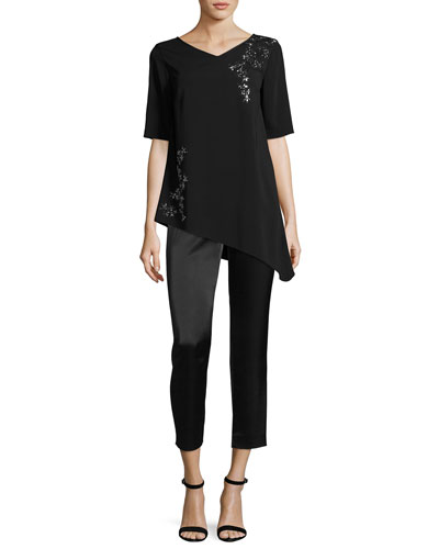 Embellished V-Neck Elbow-Sleeve Top and Matching Items