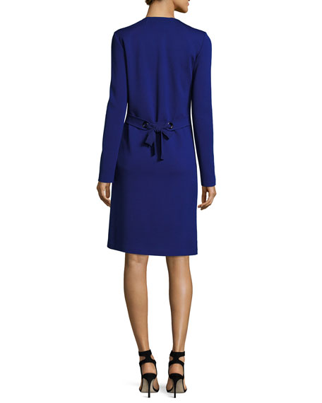 Milano Knit Topper Jacket with Tie Back, Cobalt