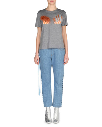 Cropped Boyfriend Jeans with Lace-Up Sides, Blue and Matching Items