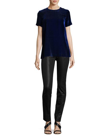 Short-Sleeve Velvet Top, Cobalt