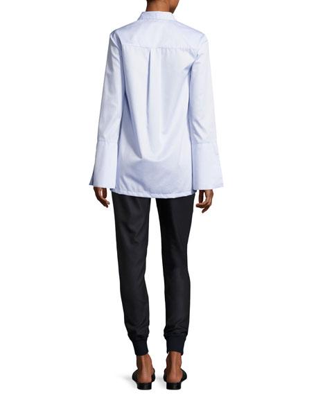 Oxford Bell-Sleeve Shirt, Light Blue