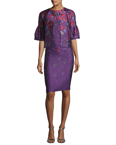 Hania Floral Jacquard Sheath Dress and Matching Items