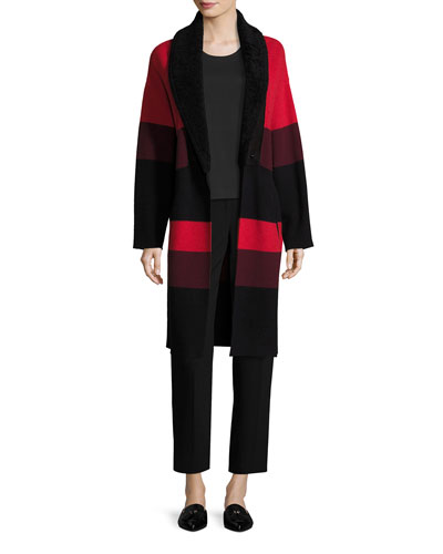 Double Knit Felted Wool Color Block Coat W Shearling Shawl Collar  Leather Welt Pockets and Matching Items