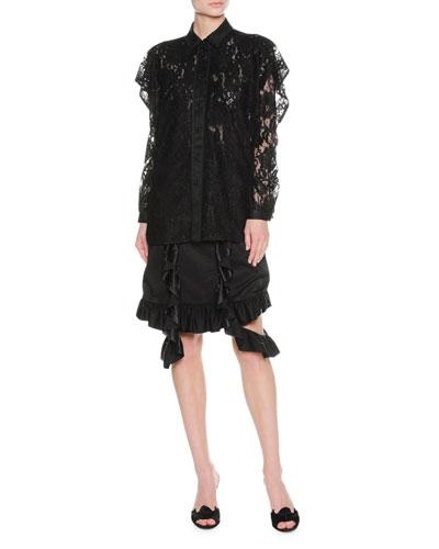 Layered Ruffle Lace Shirt, Black and Matching Items