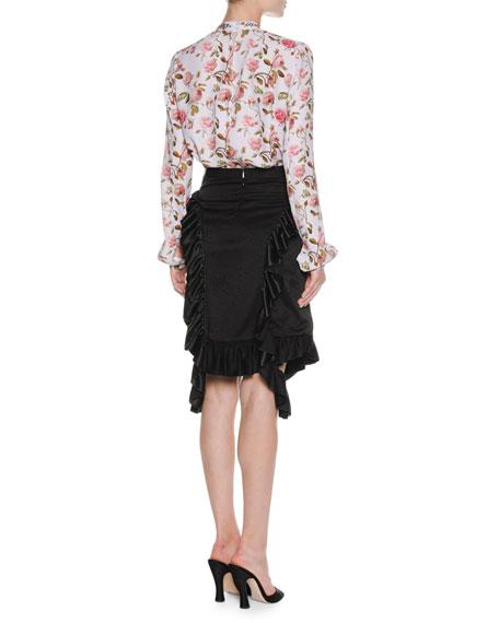 Ruffle-Trim Viscose Skirt, Black