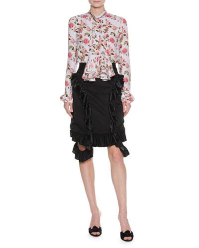 Ruffle-Trim Viscose Skirt, Black and Matching Items