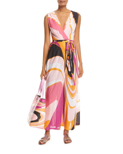 Sleeveless Libellula Coverup Maxi Dress, Pink Pattern and Matching Items