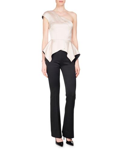 Citadel Silk-Satin Slim Boot-Cut Pants, Black and Matching Items