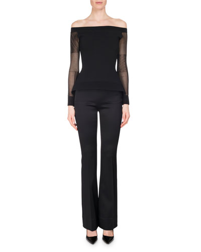 Citadel Silk-Satin Slim Boot-Cut Pants, Black and Matching Items
