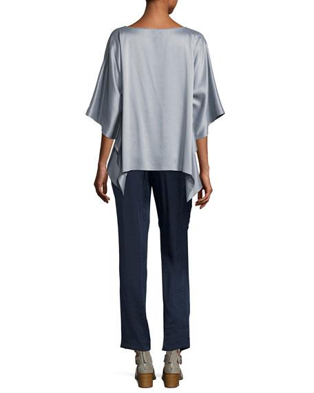 Abbot Dolman-Sleeve Artistry Silk Blouse, Vision Blue