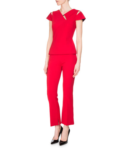 Wellside Crepe Slim Cropped Boot-Cut Pants, Rose and Matching Items