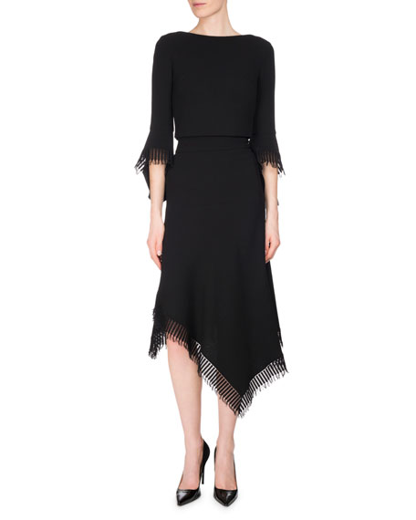 Tarring Fringe Handkerchief Midi Skirt, Black