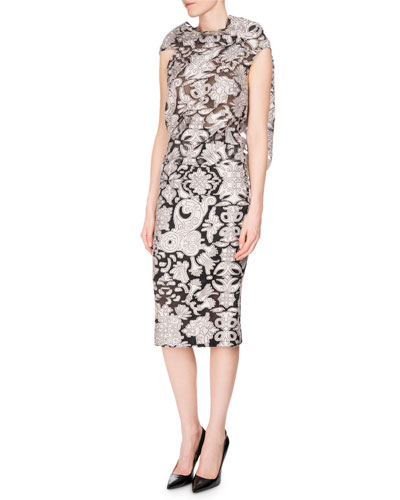 Norley Brocade Fil Coupé Pencil Skirt, Pink/Black and Matching Items