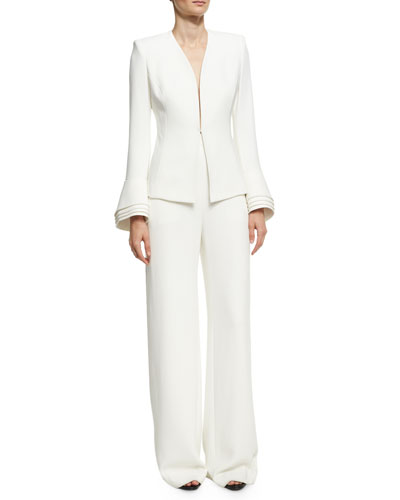 High-Waist Crepe Wide-Leg Trousers, Ivory and Matching Items