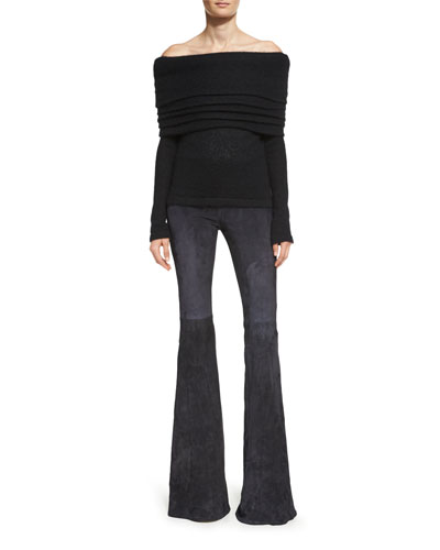 Suede Low-Rise Flare-Leg Pants, Black and Matching Items