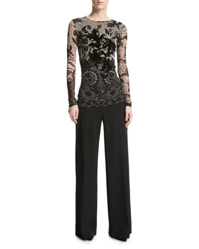 Wool-Blend Wide-Leg Trousers, Black and Matching Items
