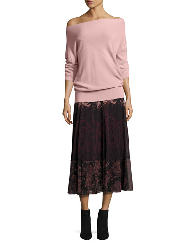 Floral Lace-Print Midi Skirt, Black/Pink and Matching Items