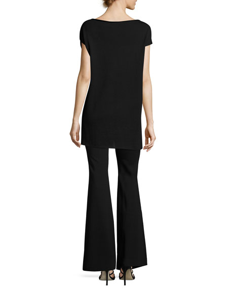 High-Rise Flared Trousers, Black
