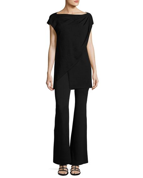 Cap-Sleeve Asymmetric Layered Sweater, Black