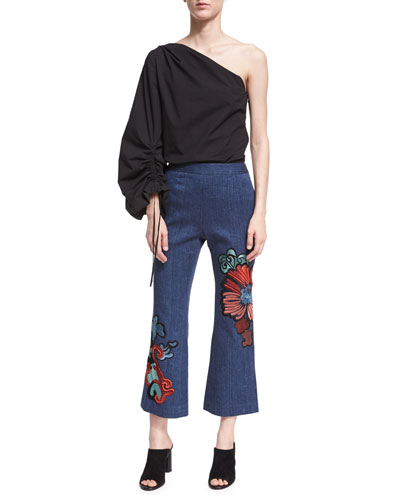 Embroidered Kick-Flare Ankle Jeans and Matching Items