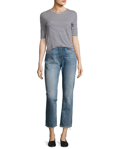 High-Rise Vintage Straight-Leg Jeans, Med Wash and Matching Items