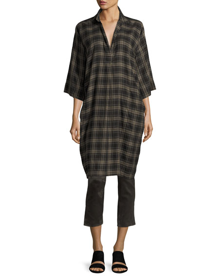 Plaid Easy Pullover Cotton Dress, Military