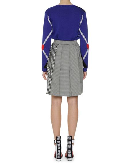 Plaid Pleated High-Waist Skirt, Black/White