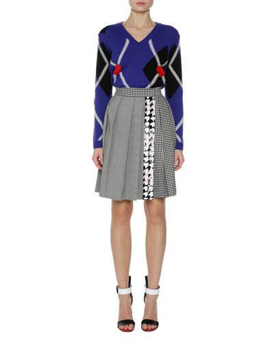 Argyle Long-Sleeve V-Neck Sweater, Navy and Matching Items