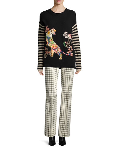 Striped-Sleeve Tiger-Embroidered Wool Sweater, Black and Matching Items